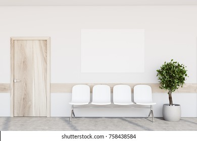 White hospital lobby with a door and white chairs for patients waiting for the doctor visit. A poster. 3d rendering mock up