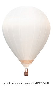 White hot air balloon with basket isolate on white background with clipping path