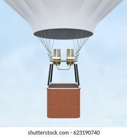 White hot air balloon with basket on skiy background. 3d rendering