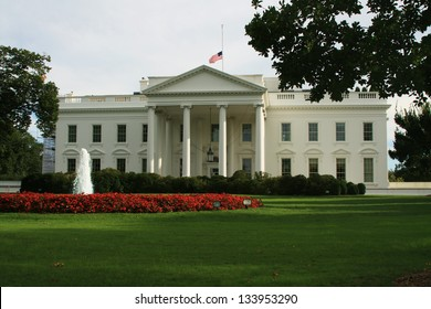 The White House with American Flag at Half Mast, 1600 Pennsylvania Avenue, Washington DC