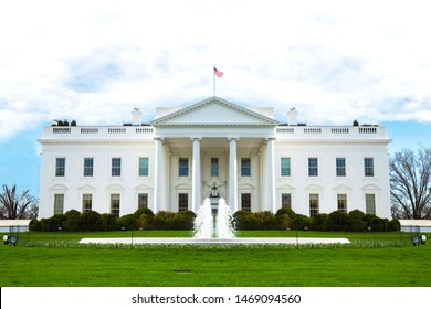 The White House building frontview in 2019, Washington DC, United States of America