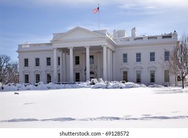 White House Close Up Flag After Snow Pennsylvania Ave Washington DC
