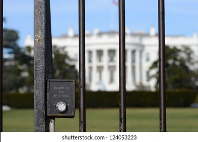 """The White House fence detail with """"Welcome to White House"""" engraved on - Washington DC, United States"""