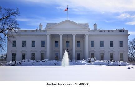 White House Fountain Flag After Snow Pennsylvania Ave Washington DC