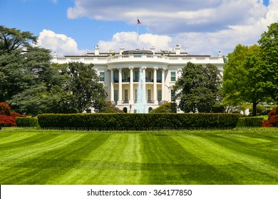 The White House with the fountain and the South lawn in front of it.