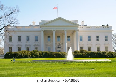 White House front exterior and fountain