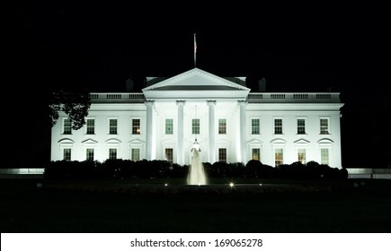 White House front side at night