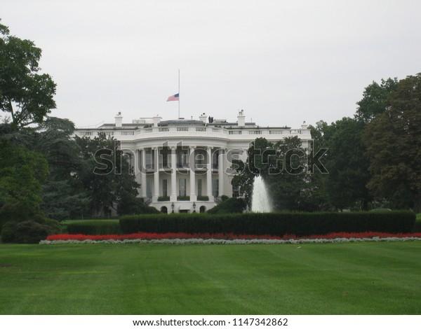 The White House with half mast flag on September 11, 2006