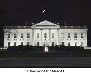 The White House at night in Washington DC.