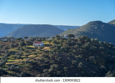"""White house on a hill in """"Sierra Morena"""" in the province of Cordoba - Spain"""