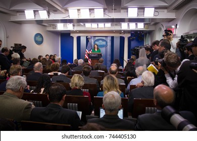 White House press secretary Sarah Huckabee Sanders takes questions from reporters at the White House, Friday, October 27, 2017.