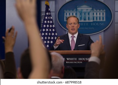 White House Press Secretary Sean Spicer addresses the press during the daily briefing, Friday, May 12, 2017.