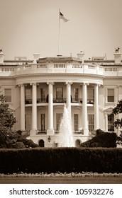 White House in sepia - Washington DC United States