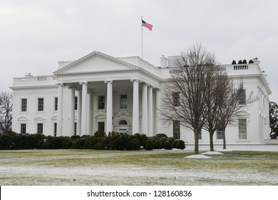 The White House in a snowy winter day - Washington DC United States