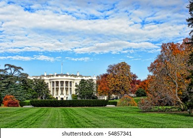 The White House south facade and lawn in Washington DC