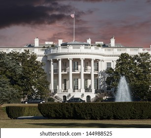 White House with storm sky in Washington DC.