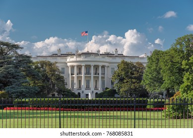 The White House in Washington DC with beautiful blue sky.