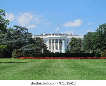 The White House in Washington, DC with blue sky background