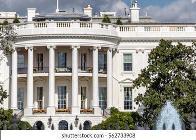 The White House in Washington DC, closeup of southern facade