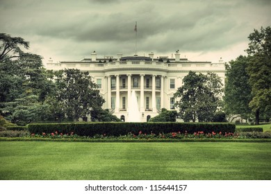 The White House in Washington D.C., Executive Office of the President of the United States, HDR, vintage style