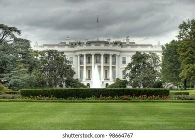 The White House in Washington D.C., Executive Office of the President of the United States, Weisses Haus in Washington, Amtssitz und offizielle Residenz des Praesidenten der Vereinigten Staaten, HDR