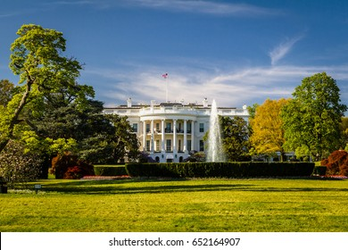 The White House in Washington DC in spring