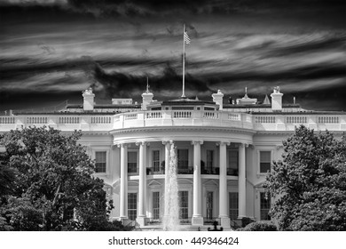 White House Washington DC view on cloudy day background in black and white