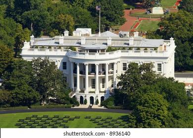 White house in Washington, photo taken from monument.