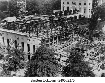White House West Wing construction, 1934. FDR engaged an architect, Eric Gugler, to redesign the West Wing in 1933.