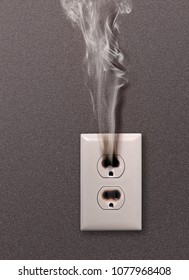 white household socket has burned from short circuit
