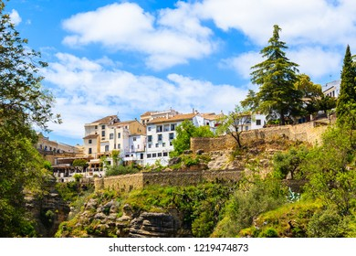 White houses in Ronda village in spring, Andalusia, Spain