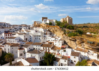 White houses in Setenil de las Bodegas small town, Spain
