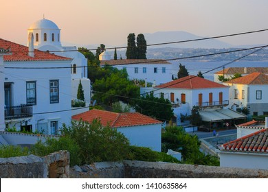 White houses of Spetses town, Spetses island, evening view, Sporades, Greece