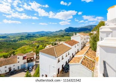 White houses in Zahara de la Sierra village in spring season on sunny beautiful day, Andalusia, Spain