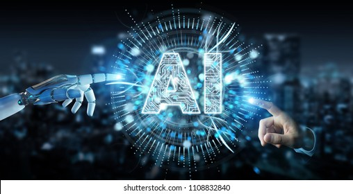 White humanoid hand on blurred background using digital artificial intelligence icon hologram 3D rendering