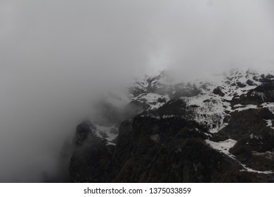 White icy mountain in the morning at North Sikkim