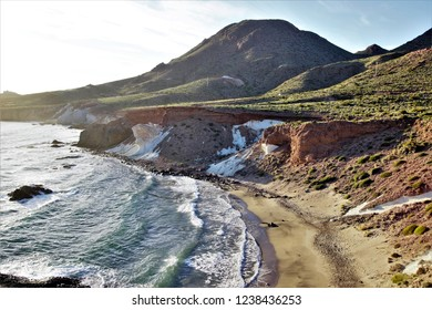 white ignimbrites of Cala Rajada, pyroclastic breccias and andesite flows, pyroclastic flows formed by an ash matrix, volcanic caldera that sank in the Natural Park of Cabo de Gata, Almería, Spain,