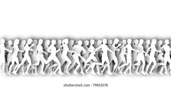 White illustration of many people running with drop shadows