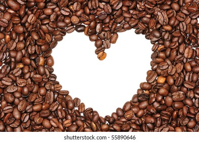 white image of heart in coffee beans