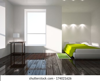 white interior of a bedroom