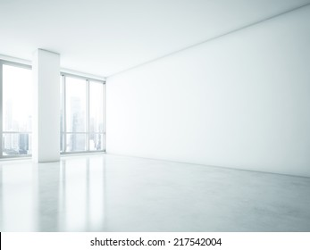 White interior with big blank wall