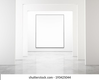 White interior with blank poster
