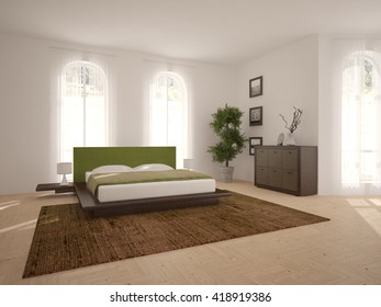 white interior design of bedroom -3D illustration