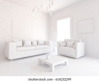 white interior design with furniture. Scandinavian interior design. 3d illustration