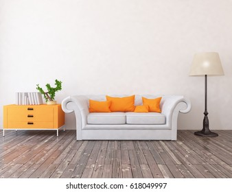 white interior design with furniture. Scandinavian interior design. 3d illustration