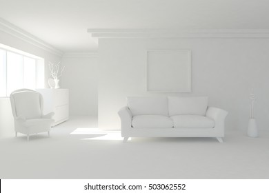 White interior design of living room with modern furniture. Scandinavian style. 3D illustration
