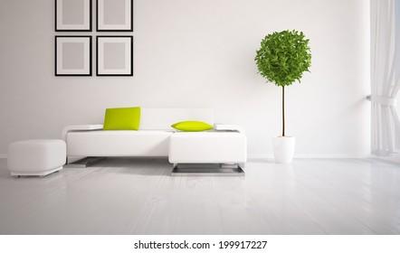 white interior with a white furniture
