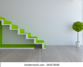 white interior with green stairs. 3d rendering