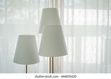 white interior with lamps.