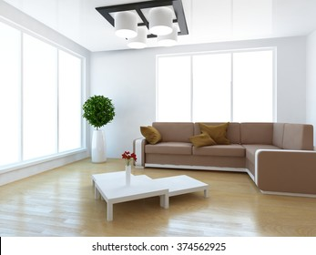 white interior of a living room with sofa. 3d concept